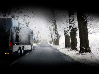 snow, black bus, HT45